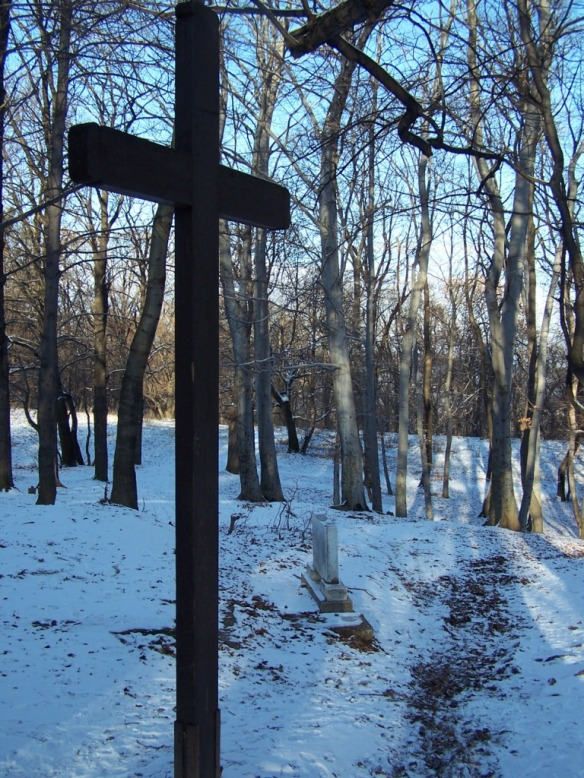 A cross in the woods