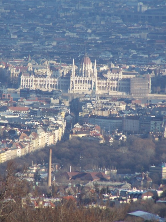 The Neo-Gothic Parliament building from Normafa.
