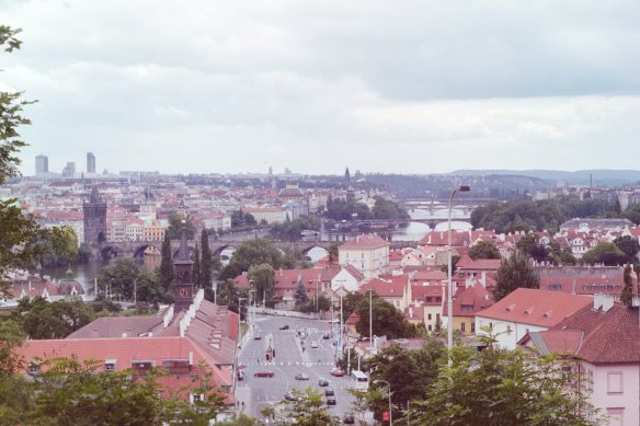 From the castle district toward Charles bridge