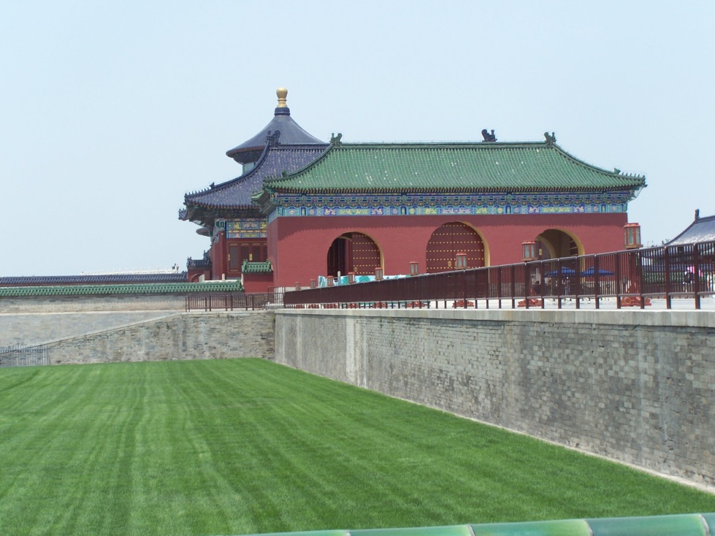 The pointy-topped building is the Hall of Prayer for Good Harvests