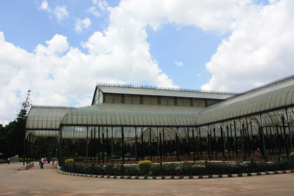 The Glass House of Lal Bagh gardens, and a typical Bangalorean sky.