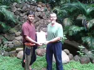 Receiving my 60 hour course certificate from the teacher.