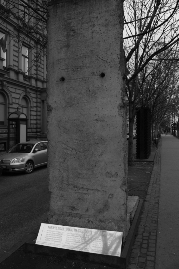 A section of Berlin Wall located outside the Terror House (Terror Haza) Museum