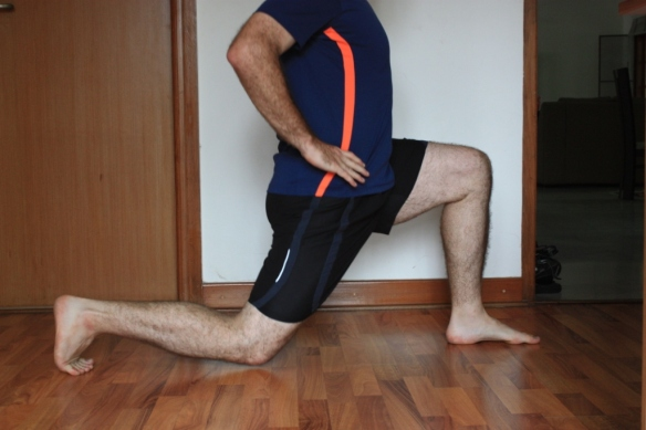 The basic lunge: can be done stepping forward, backward, or both (the latter in an alternating fashion)