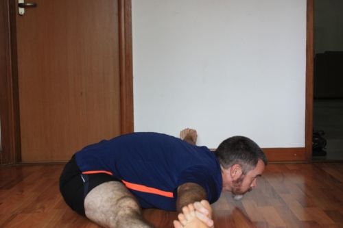 Upavistakonasana: put legs at about 90 degrees relative to each other, and then lean forward with a flat back placing the stomach, chest, and chin on the floor (in that order.)