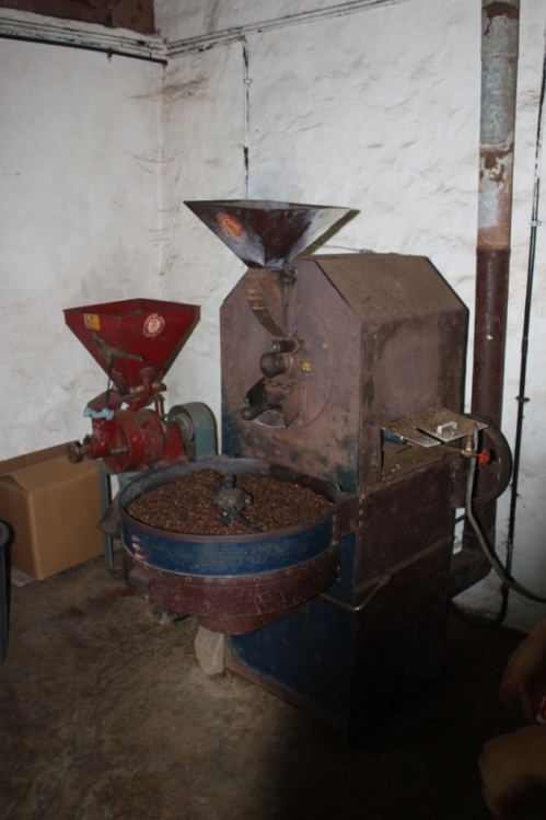 The grinding and roasting room; the best smelling place in the universe