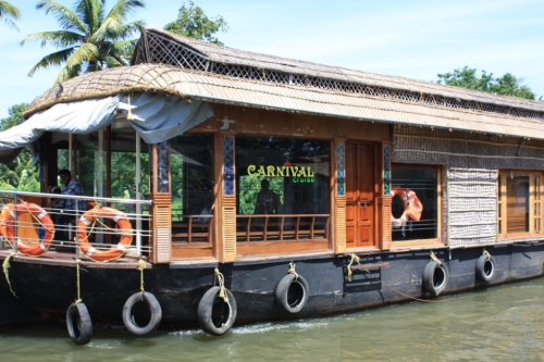 A typical houseboat seen in the Backwaters