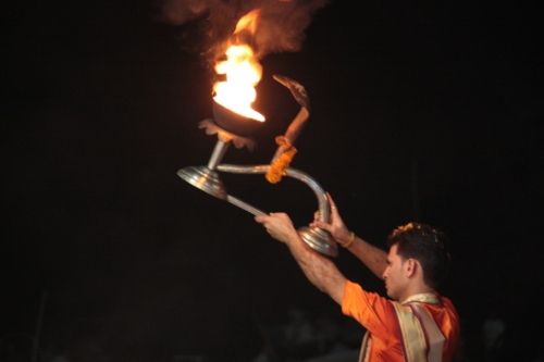 A Brahmin conducting the Ganga Aarti, a daily Hindu ceremony conducted on the Ganges