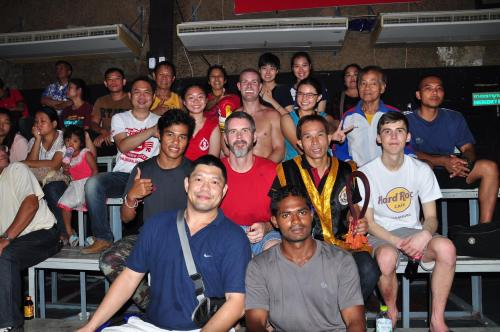 With MTI teachers and students after a successful fight by a German student
