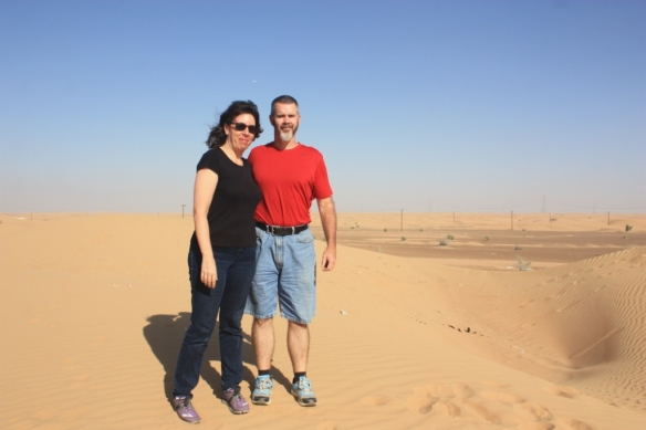 Lilla and I amid the dunes in the UAE near Dubai