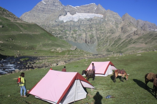 Lilla on our first night camp site on the Kashmiri Great Lakes trek