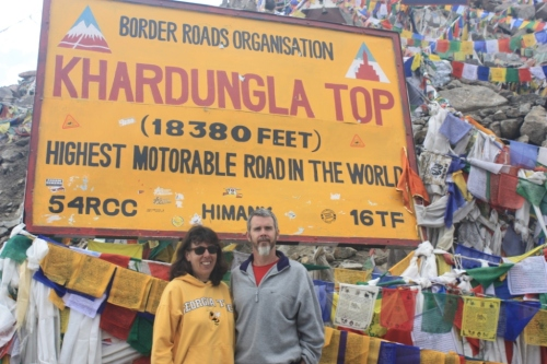 Lilla and I at the (reputed) highest motorable pass in the world