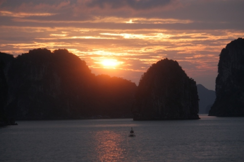 New Year's Day sunrise over Bai Tu Long Bay, Vietnam