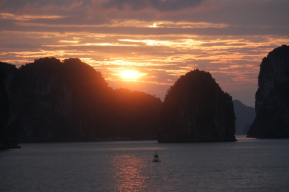 New Year's Day sunrise over Bai Tu Long Bay, Vietnam