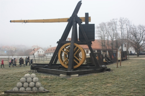 One of the trebuchet on display at the base of Sümeg castle